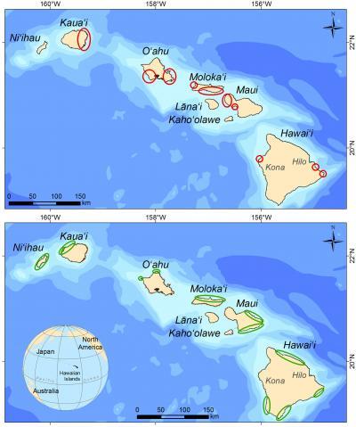 Áreas de restauración y conservación del arrecife y de la los peces para la pesca en Hawai'i
