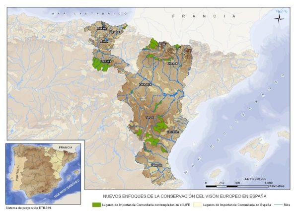 Zonas de actuación del LIFE LUTREOLA SPAIN.