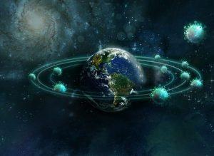 Planeta Tierra con la Covid-19 orbitando.